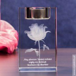 Prezent dla dziewczyny - personalizowany świecznik z różą 3D